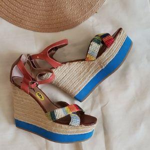 MIA brand Patricia wedge/sandal multicolored